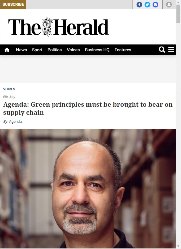 Green principles must be brought to bear on supply chain